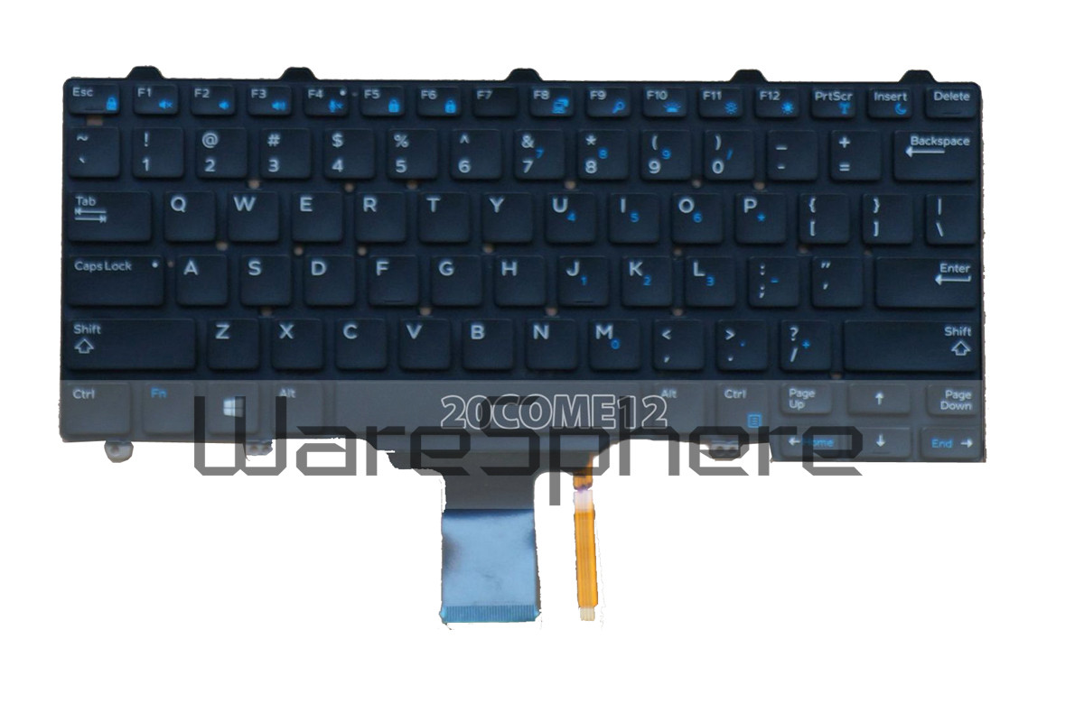 Backlit Keyboard for Dell Latitude E5270 US No Frame Black